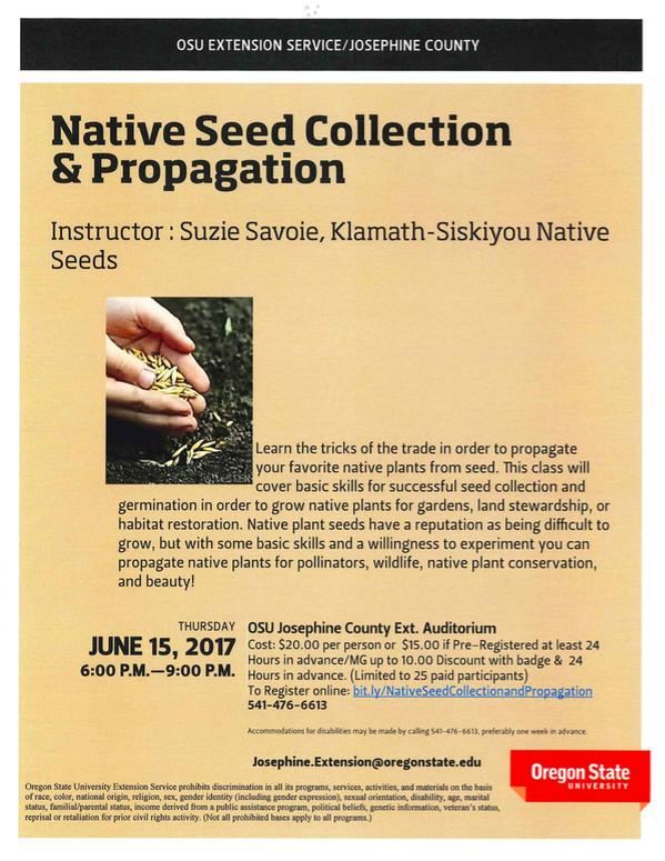 Native Seed Class Josephine Master Gardeners